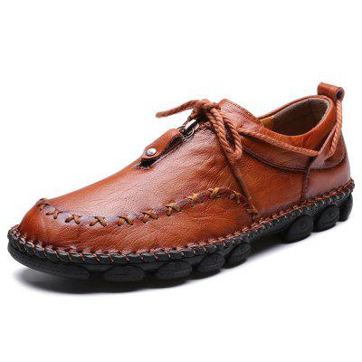 IZZUMI Men Leather Shoes Fashion British Style Hand-stitched Casual Footwear