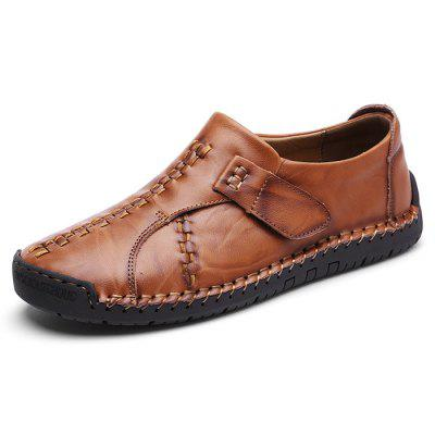 IZZUMI Men Leather Shoes British Style Fashion Hand-stitched Round Toe Casual Footwear