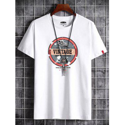 Men Summer Short Sleeve T-shirt Cotton Printing Trend Tops