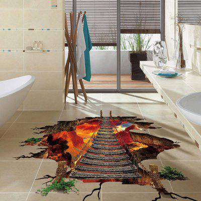DIY Volcanic Bridge Mural Pattern Affixed Waterproof PVC Removable Wall Stickers Decorative Painting