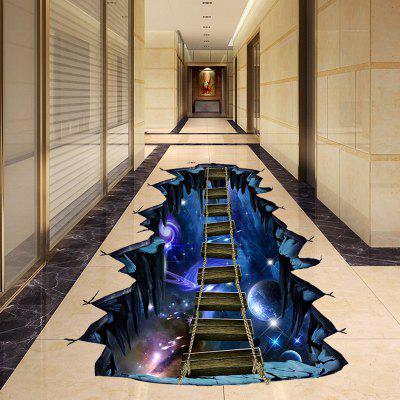 DIY Planet and Bridge Pattern Ground Sticker PVC Mural Waterproof Removable Decorative Painting Sticker
