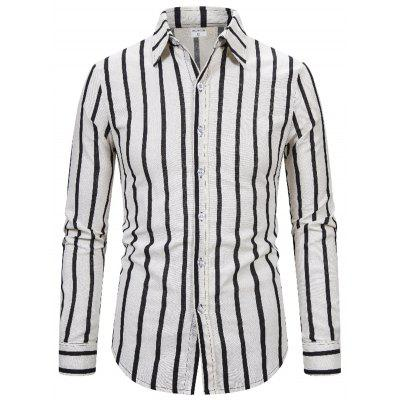 1811A-X304 Men's Cotton and Linen Striped Long-sleeved Shirt