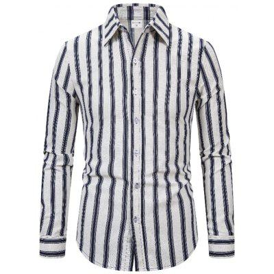 1811A-X306 Men's Cotton and Linen Striped Long-sleeved Shirt