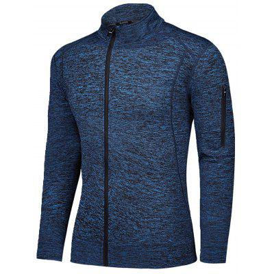 Men Fitness Coat Stand Collar Long Sleeves High Elasticity Breathable Sportswear