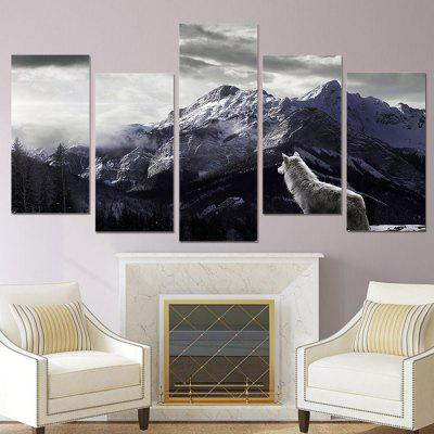 Wolf Pattern Print Landscape Waterproof Home Wall Decorative Painting 5PCS