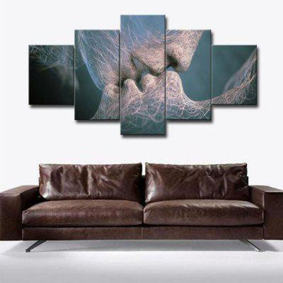 Kiss Pattern Print Waterproof Home Wall Decorative Painting 5PCS