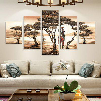 Tree Pattern Print Landscape Waterproof Home Wall Decorative Painting 5PCS