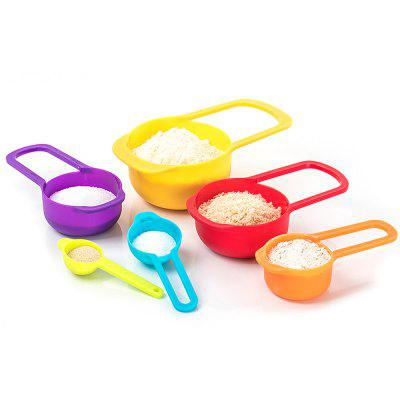 52048 Rainbow Measuring Spoon Measuring Cup Stackable Combined Baking Tool with Scale 6PCS