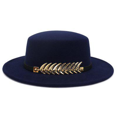 Autumn and Winter Flat-topped Woolen Top Hat Sun Hat Round Bowler Cap