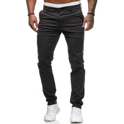 Men Fashion Casual Solid Color Pants Thin Trousers