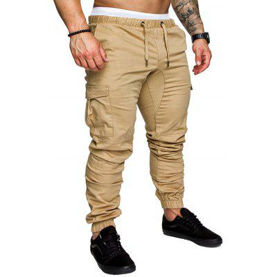 Man Pants Solid Color Casual Cargo Trousers with Multiple Pockets