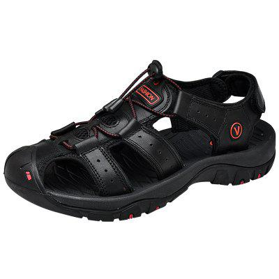 SENBAO Men Leather Sandals Summer Breathable Beach Shoes Sports and Leisure Outdoor Footwear Big Yards