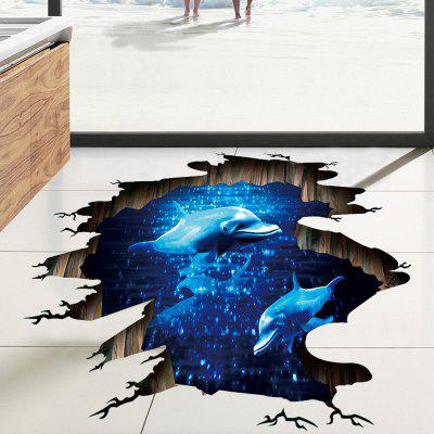 DIY Dolphin Pattern Ground Sticker PVC Mural Waterproof Removable Decorative Painting Stickers
