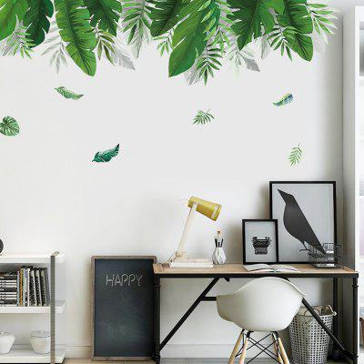 DIY Green Leaf Pattern Wall Sticker PVC Mural Waterproof Removable Decorative Painting Wallpaper