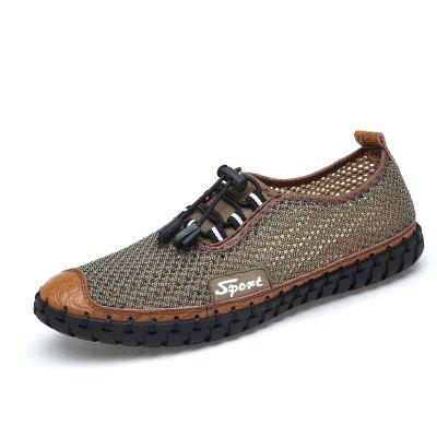 AILADUN Men Summer Casual Shoes Hand-stitched Breathable Mesh Big Yards Footwear