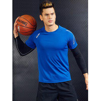 Men Quick Dry T-Shirt Solid Color Round Neck Short Sleeves Top