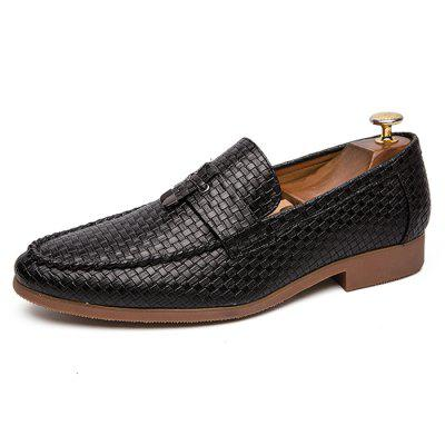 AILADUN Men Leisure Fashion Shoes British Style Weave Pattern Business Footwear
