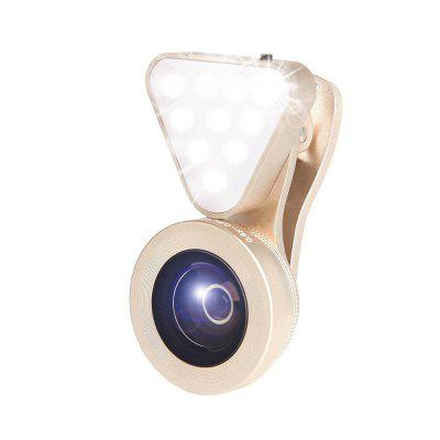 3-in-1 Clip-on Phone Camera 15X Macro Lens Kit Fill Light 140 Degree Wide Angle