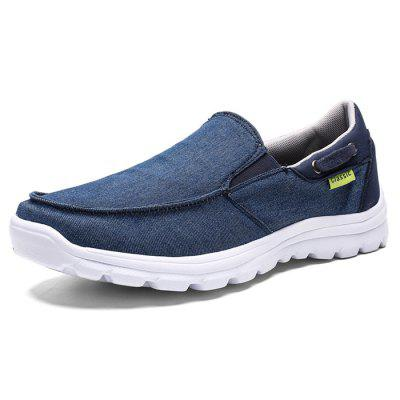 AILADUN Men Flat Shoes Breathable Solid Color Canvas Casual Footwear
