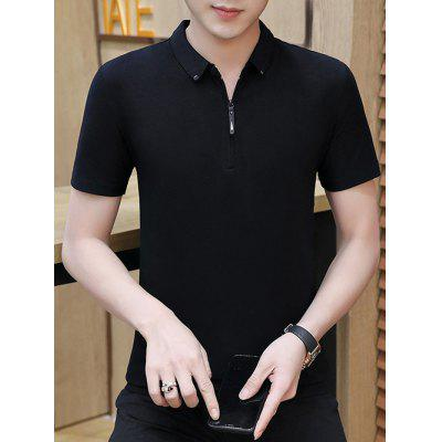 Men Summer krátký rukáv T-Shirt Solid Color Turn-down límec Korean Version