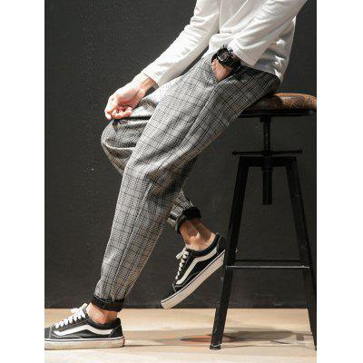 Men Summer Casual Pants Plaid Pattern Comfortable Trousers
