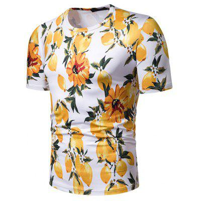 Men Summer Beach Style Printed Short-sleeved T-shirt Short Sleeve Top Tee