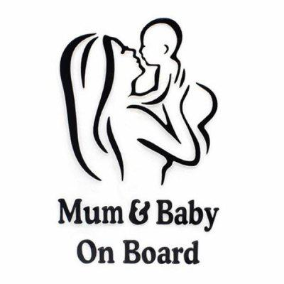 Car Sticker Mum and Baby Pattern Creative Decals Decorative Warning Background