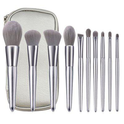 10 Silver Makeup Makeup kartáč s kartáčem Package Beauty Makeup Tool Kit, make-up Kit Silver dřevěnou rukojetí