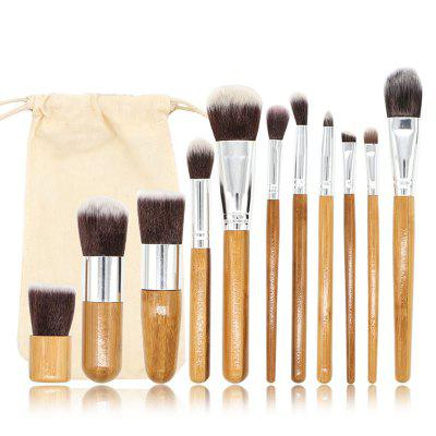 Cosmetics Beauty Makeup Brush Set 11PCS Brushes with Two-color Soft Bristles Bamboo Handle and Storage Bag