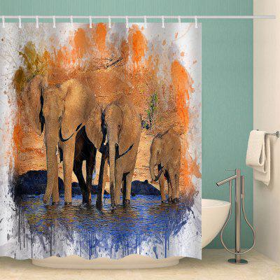 Ink Elephant Family Ontwerp Waterproof Shower Curtain Home Decoration