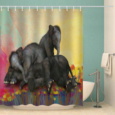 Drie Playing Elephant Pattern Waterproof Shower Curtain Home Decoration
