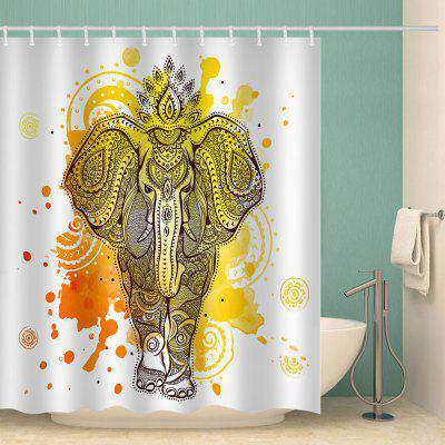Yellow Ink Elephant Pattern Waterproof Shower Curtain Home Decoration