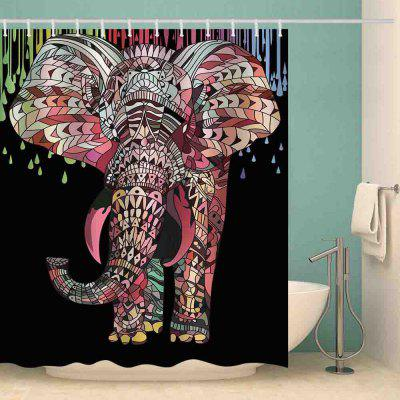 Color Elephant Pattern Waterproof Shower Curtain Home Decoration