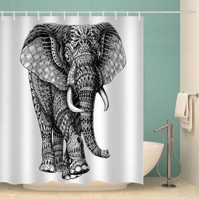 Witte achtergrond rechts Shake Head Elephant Pattern Waterproof Shower Curtain Home Decoration