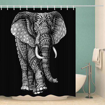 Black Background Right Shake Head Elephant Pattern Waterproof Shower Curtain Home Decoration