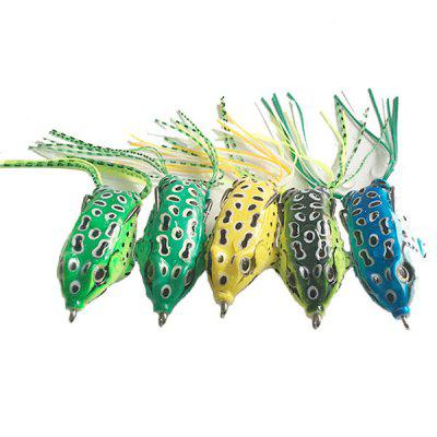 Frog Fishing Lures Double Hooks Top Water Ray Frog Artificial Crank Soft Bait Fishing Tackle 5pcs/Box