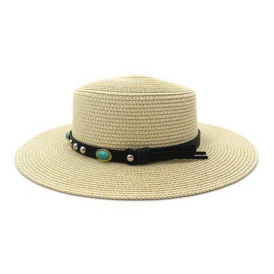 Spring and Summer Outdoor Travel Beach Straw Sun Hat Sunscreen Shade Headgear Unisex Flat Top Cap