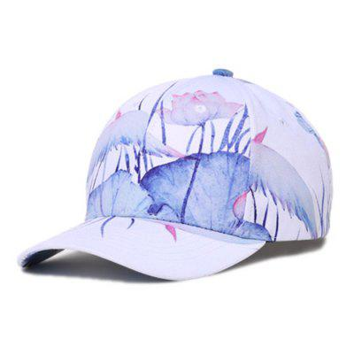WU3062AL Spring Summer Ink Painting Style Lotus Pattern Baseball Cap Breathable Quick Dry Outdoor Sports Hat