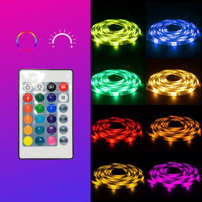 YX-22 3528 Red Green Blue RGB Soft Smart Strip Light 5m 300 LEDs IP65 Waterproof with 24 Keys Infrared Controller