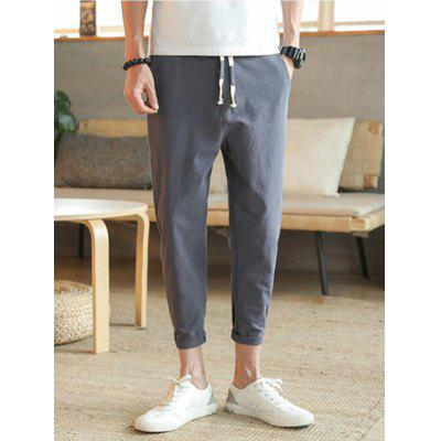 Man Summer Solid Color Casual Pants Cotton Linen Material Ankle Length Trousers