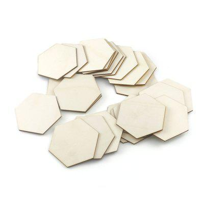JM01924 Kinderen Educatieve DIY speelgoed hexagonaal patroon Wood patch voor Name Tag Decoration 25PCS