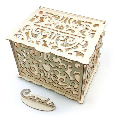 JM01776 DIY Business Card Box Kit Wooden Wedding Decoration with Lock and Key