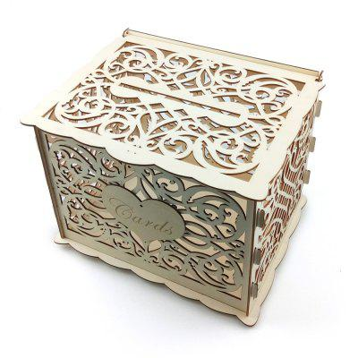 JM01775 DIY Business Card Box Kit Wooden Wedding Decoration Supplies with Lock and Key
