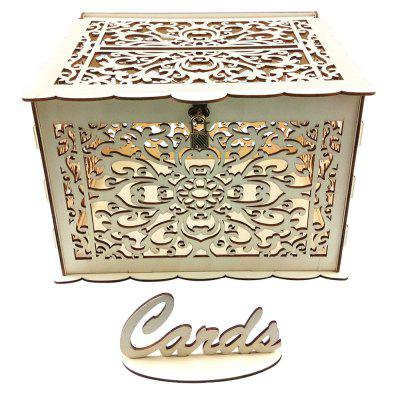 JM01773 Business Card Box Kit Wood Material DIY Wedding Decoration with Lock and Key