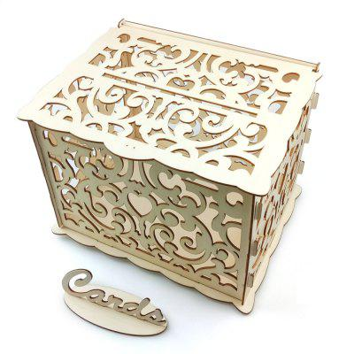 JM01774 DIY Business Card Box Kit Wood Material Wedding Decoration Supplies with Lock and Key