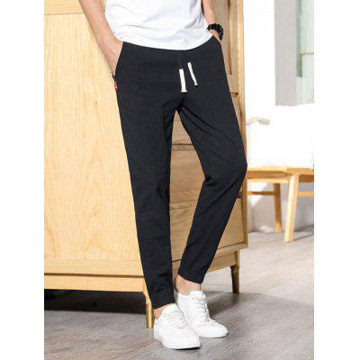 Man Summer Straight Pants Solid Color Cotton Linen Ankle Length Loose Casual Trousers