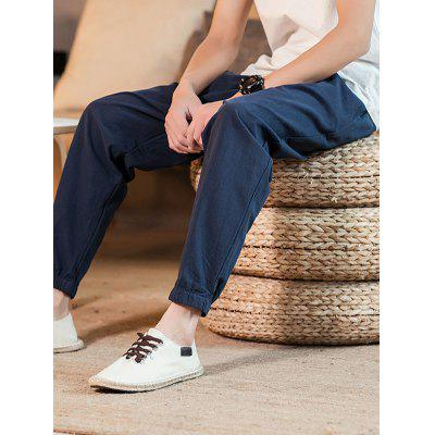 Chinese Style Pure Cotton Man Pants Solid Color Ankle Length Loose Casual Harem Trousers