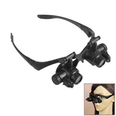 Head-mounted Glasses Magnifier with LED Light 10X 15X 20X 25X Magnifying for Jewelry Watch Repair
