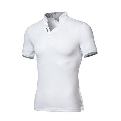 Men Shirt Slim Embroidered Letters Solid Color Turn-down Collar Short Sleeve Top