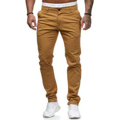 Summer Men Casual Pants Slim Solid Color Trousers